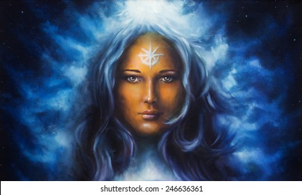 Spiritual painting woman goddess with long blue hair holding with star on forehead illustration  oil painting  profile portrait eye contact make up artist