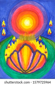 Spiritual powerful energy connect to another world universe abstract illustration art gouache painting design hand drawn