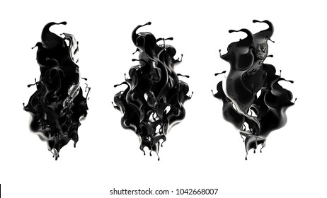 Splash of black liquid. 3d illustration, 3d rendering.