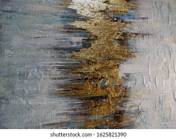 splash of bright-line gold on a white background handmade paint