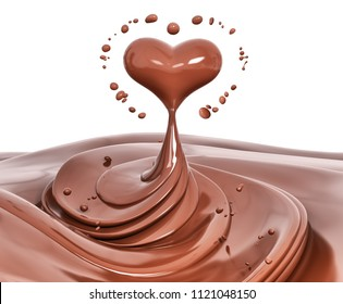 Splash chocolate abstract background, chocolate heart isolated 3d rendering