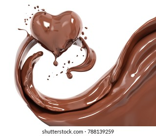 Schokolade, abstrakter Hintergrund, Schokoladenherz einzeln auf 3D-Darstellung