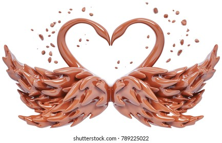 Splash chocolate abstract background, chocolate swans isolated 3d rendering