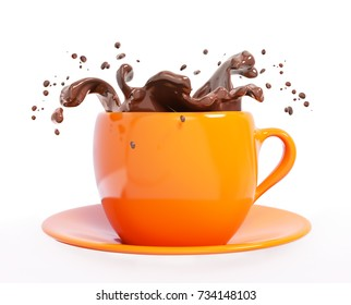 Splash of chocolate in cup isolated 3d rendering