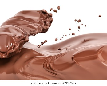 Splash chocolate isolated 3d rendering