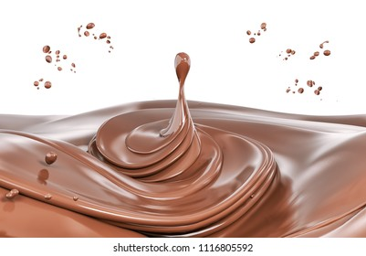 Splash chocolate isolated abstract background 3d rendering