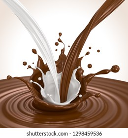 Splash of chocolate with milk and pouring, 3d illustration.