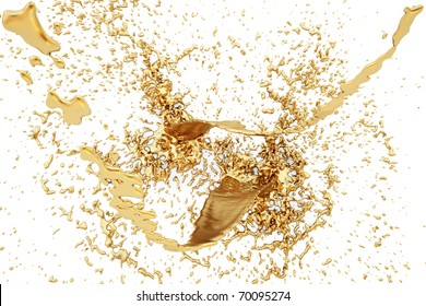 splash of golden fluid on the wall. isolated on white. with clipping path.