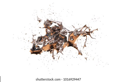 Splash of mercury on a white background. 3D illustration