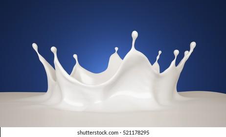 Splash of milk. 3d illustration, 3d rendering.