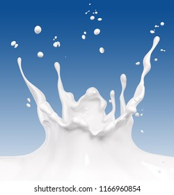Splash milk abstract background, isolated 3d rendering