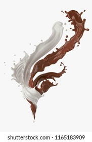 splash of Milk with Chocolate twisted and Mix into a storm shape, 3d illustration with clipping path.