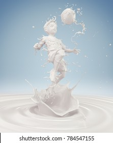 Splash of milk in form of Boy's body action playing football, Boy soccer player, with clipping path. 3D illustration.