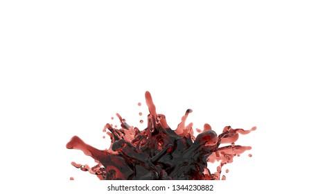 splash of red juice or wine. 3d rendering