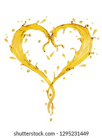 Splash ripple of liquid yellow oil, olive, lubricant in form of heart shape isolated on white background. Design creative concept for valentine day or love. 3D render illustration.
