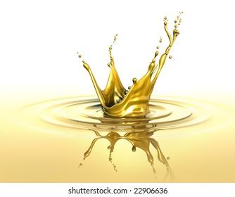 Splash and ripples on liquid gold