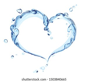 Splash of water abstract background, water heart isolated 3d rendering
