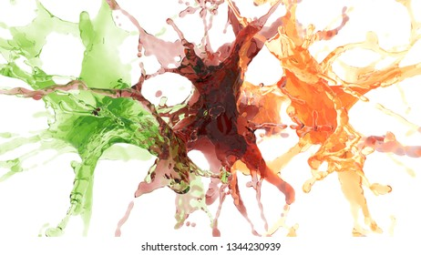 splashes of colored drinks. 3d rendering