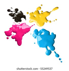 Splashes of four color printing inks cyan magenta yellow black