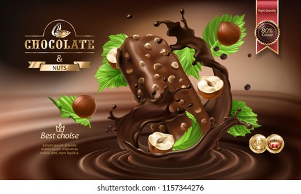 Splashes of melted chocolate with falling chocolate bar and nuts, 3D realistic illustration. Mock up advertising poster for promoting elite dark chocolate