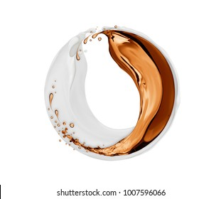 Splashes of milk and coffee rotate in a circular motion