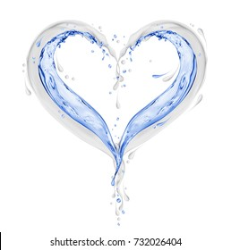 Splashes of milk and water in the shape of heart on white background. 3D illustration