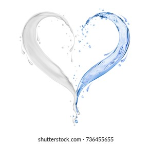 Splashes of white cream and water in the shape of heart on white background