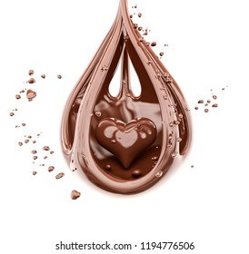 Splashing chocolate heart abstract background, isolated 3d rendering