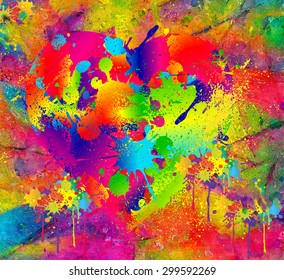 Splattered paint. Abstract background resembling wet splattered paint pattern in the colors of art. Fun, floral colored, digital render is perfect for art backgrounds, imaginative scenes and textures