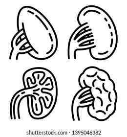 Spleen icons set. Outline set of spleen icons for web design isolated on white background