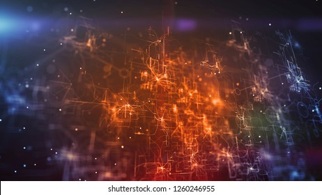 Splendid 3d illustration of a cyberspace cpu shining brightly in the golden and blue background. It has a network of interconnected crisscross and straight lines.