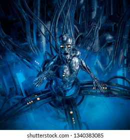 Splinter in the machine / 3D illustration of science fiction male humanoid android trapped inside futuristic computer core