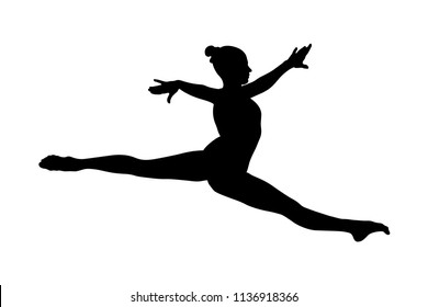split jump girl gymnast in competition gymnastics black silhouette