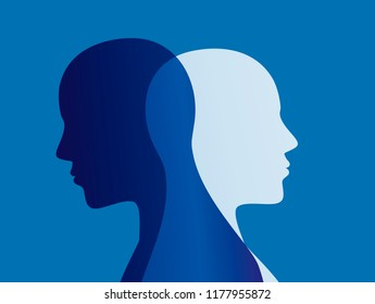 Split personality. Bipolar disorder mind mental. Mood disorder. Dual personality concept. Blue background