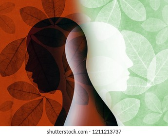 Split personality. Bipolar disorder mind mental. Mood disorder. Dual personality concept. Silhouette on background with leaves