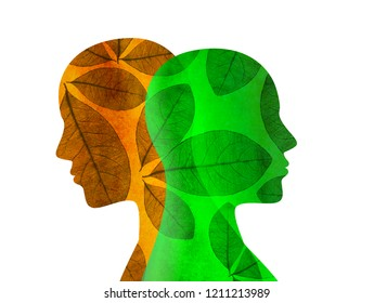 Split personality. Bipolar disorder mind mental. Mood disorder. Dual personality concept. Isolated silhouette with leaves