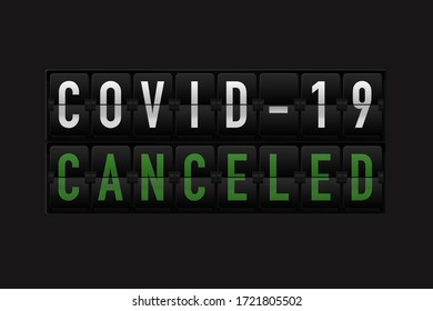 Split-flap display with covid-19 cancelled. 3D illustration.