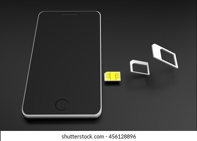splitting of nano sim card from sim card adapter to smart phone on black background, 3D rendering