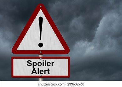 Spoiler Alert Caution Sign, Red and White Triangle Caution sign with word Spoiler Alert with stormy sky background
