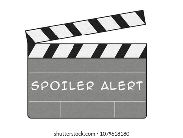 SPOILER ALERT on the clapboard over white background