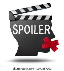 Spoiler Alert symbol and spoiling the story ending for an entertainment media movie or at a theatre cinema revealing the plot ending as a 3D illustration.