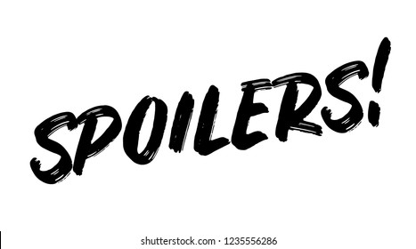 spoilers stamp on white background. Sign, label, sticker.