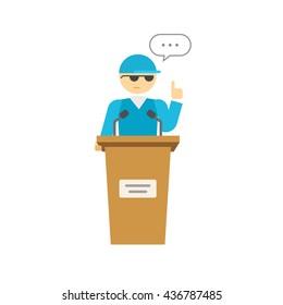 Spokesman illustration isolated on white, flat cartoon speaker person on podium, business orator speaking, talking image