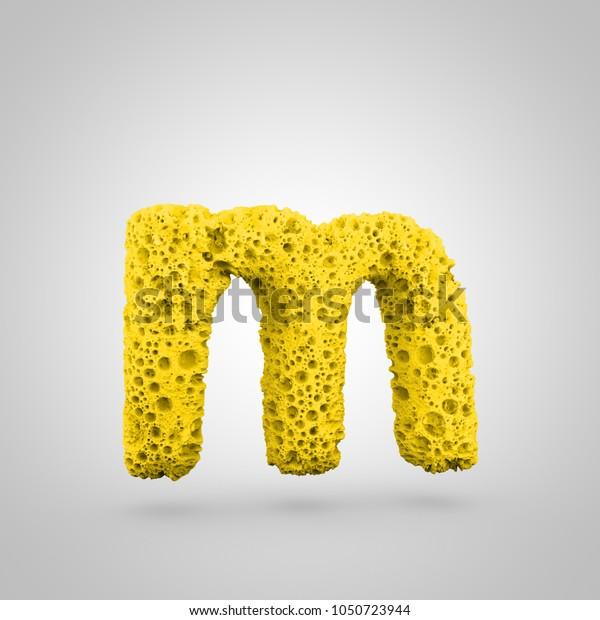 Sponge letter M lowercase. 3D rendering of yellow sponge font isolated on white background.