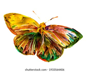 Spontaneous butterfly painting with organic textures and rich colors on the subject of Nature, summer, joy and art