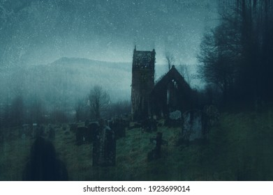 A spooky concept of a ruined church and graveyard in the countryside on a moody, foggy winters evening. With a grunge, abstract edit.