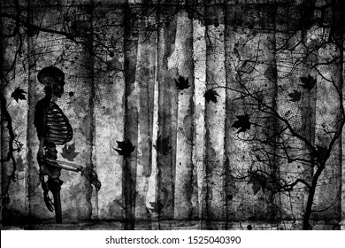 Spooky forest with dead trees, cobwebs and silhouettes of dancing skeleton. Day of the Dead (Dia de los Muertes) holiday. Halloween party.  Gothic design. Black and white illustration with 3D elements