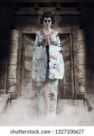 Spooky ghost of a geisha girl standing in front of an old abandoned building. 3D illustration.