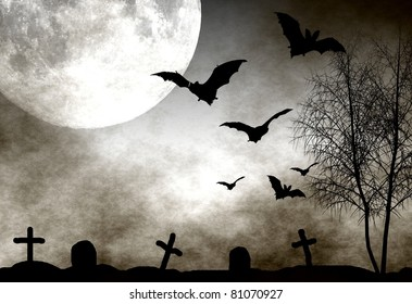 Spooky graveyard scene with bats flying in the moonlight. Perfect as halloween background.