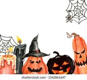 Spooky Halloween background with watercolor creepy pumpkins, hand painted candles, spiderweb, isolated. Holiday graphic template with space for text. Great as card, poster, invitation.